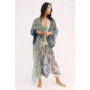 NWT Free People Leonora Kimono Indigo Combo